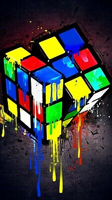 Rubix Cube Game - Colourful Paint Wall Art Decor Large Poster & Canvas Pictures • 14.99£