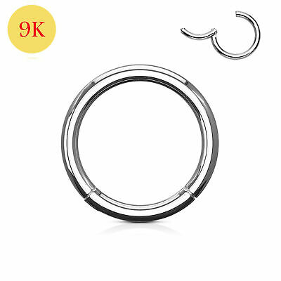 AU49.02 • Buy 9ct Solid White Gold Classic Hinged Segment Captive Nose Tragus Ring 18G 8mm