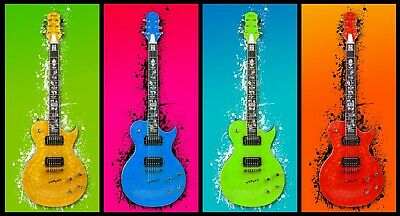 £19.99 • Buy Abstract Guitar - Colourful Music Paint Wall Art Large Poster & Canvas Pictures