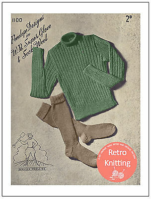 £3.99 • Buy Knitting Pattern For A 1940's Land Army Jumper And Socks