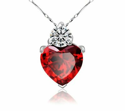 """$6.99 • Buy 18"""" 925 Sterling Silver Red Garnet Heart Crystal Necklace For Women Ladies Wife"""