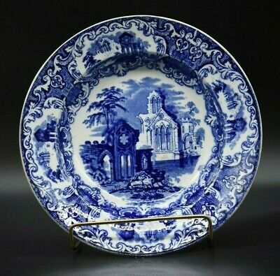 $32 • Buy Petrus Regout Abbey Soup Bowl Blue Transferware Maastricht Holland Cathedral