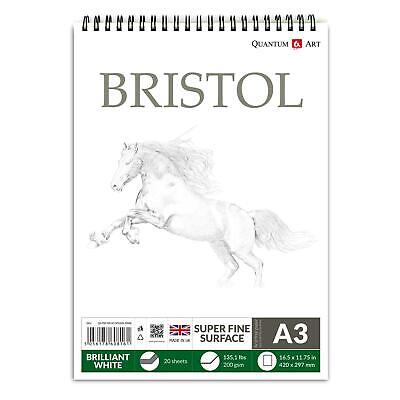 A3 200gsm BRISTOL Board Sketch Pad White Drawing Artist Paper On SPIRAL Book • 7.99£