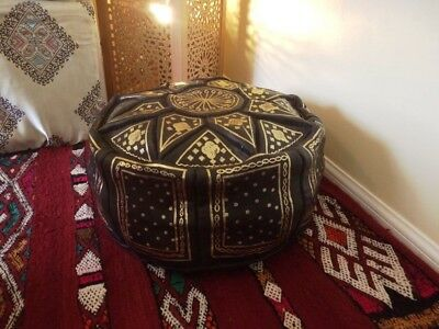 Moroccan Pouffe Black Leather Footstool Various Colours Seating Ottoman Pouffet  • 27.99£