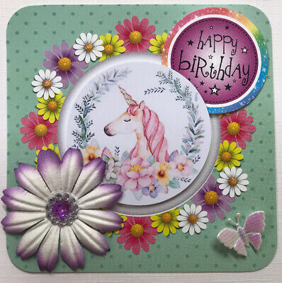 1 Pretty Unicorn Birthday Card Topper - Hand Made - FOR Card Making 3D Floral • 0.99£