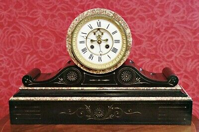 Antique 19th Century French S. Marti Slate & Marble Open Escapement Mantel Clock • 500£