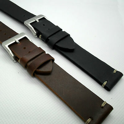 £9.99 • Buy Vintage Style Calf Leather WATCH STRAP 18 20 22mm Black Brown Smart Band New UK