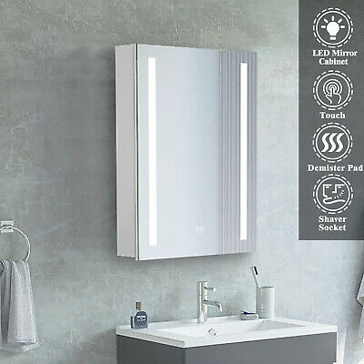 £151.99 • Buy Bathroom Cabinet With Mirror Led Lighted Shaver Socket Wall Hung Demister Pad