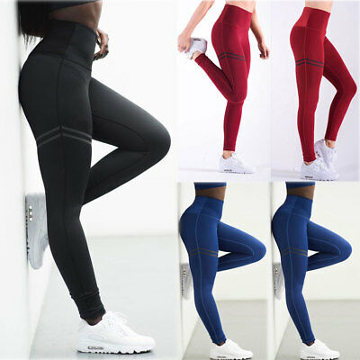 AU15.39 • Buy Women High Waist Yoga Pants Fitness Sports Leggings Gym Training Trousers