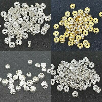 100 Clear Rhinestone Rondelle 5/6/8mm Spacer Beads Silver For Jewelry Making  • 2.29£