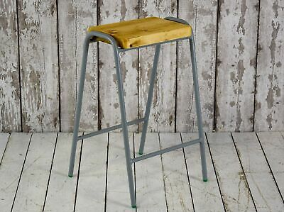 Vintage 63 Cm Style Lab Cafe Bar School Stool Grey Frame Pine Top 20 AVAILABLE • 50£