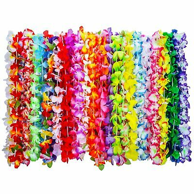 36 Pc Tropical Hawaiian Luau Flower Leis Necklaces, 35 Colors • 12.99£