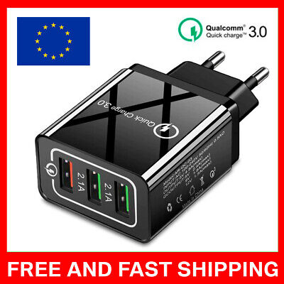 $ CDN15.82 • Buy 3 Port Fast Qualcomm Quick Charge QC 3.0 USB Hub Wall Charger Adapter LUX