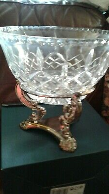$70 • Buy Godinger Museum Re-creations Shannon Crystal Centerpiece Bowl Silver Plate Stand