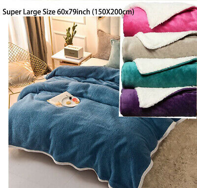 Solid Warm Sherpa Throws Sofa Bed Fleece Blanket Cozy Double Mink Christmas Gift • 11.49£