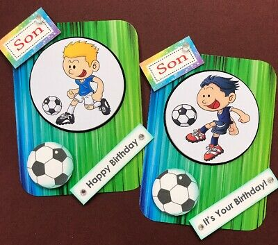 2 Hand Made Birthday Card Toppers - SON Football Themed - For Card Making 3D • 1.19£