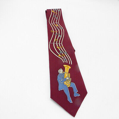 Enigma Handmade Necktie Maroon With Trombone Player And Musical Notes  • 14.95$
