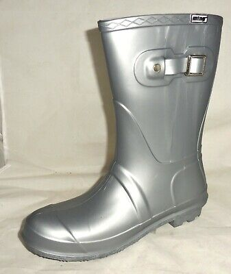 $16.95 • Buy New MUSTANG By MTNG Womens SIZE US 8, EU 39 SILVER Pull On Rain Boots