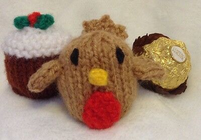 KNITTING PATTERN Christmas Pudding And Robin Chocolate Cover Fits Ferrero Rocher • 2.99£