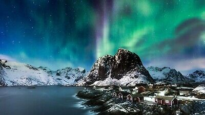 Northern Lights Norway Colourful Landscape Art Large Poster & Canvas Pictures • 14.99£