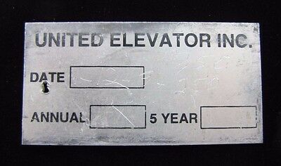 $44 • Buy UNITED ELEVATOR Inc Vintage Industrial Nameplate Equipment Tag Small Sign