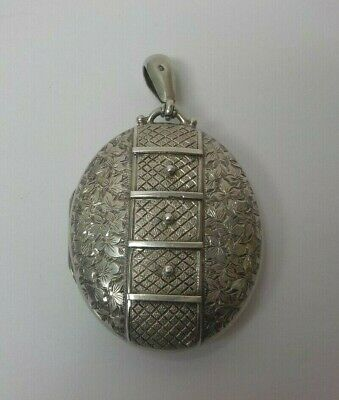 £212.95 • Buy  English Victorian Period Silver 1 7/8  Oval Locket (#3), Engraved Decoration