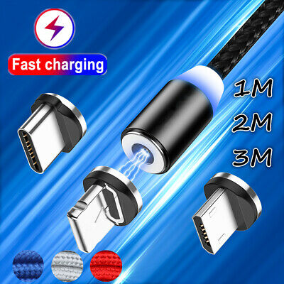 $ CDN1.30 • Buy 360° Magnetic Lightning Micro USB Type-C Charger Cable For IPhone 7 Samsung LOT