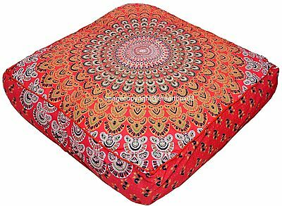 Indian Mandala Peacock Square Seating Floor Cushion Pillow Pouf Cover Sofa Decor • 12.98£