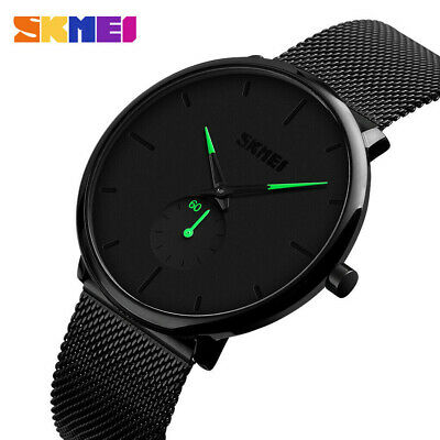AU16.59 • Buy Men's Waterproof Ultra Thin Watches Stainless Steel Quartz Business Wrist Watch