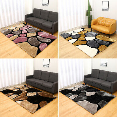 Modern 3d Pebble Stone Effect Floor Rug Soft Thick Pile Carpet Mat Living Room • 107.95£