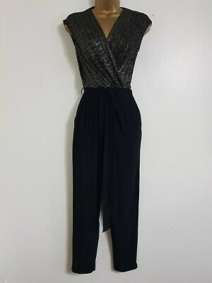 NEW Debenhams 6-18 Wrap Front Silver Black Sparkly Jumpsuit Party Occasion • 11.99£