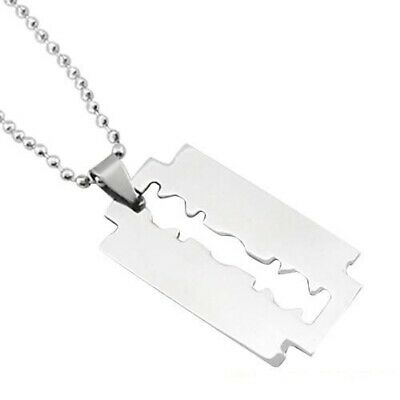 £4.96 • Buy Men's Razor Pendant Stainless Steel Silver Color Ball Blade Chain Necklace New