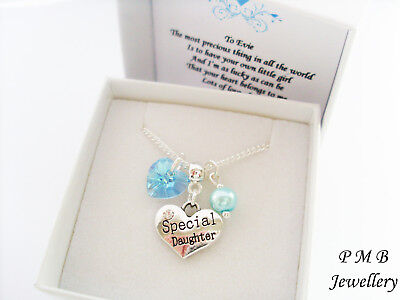 CHILDRENS JEWELLERY -  Swarovski Elements  Crystal Heart Necklace • 8.99£