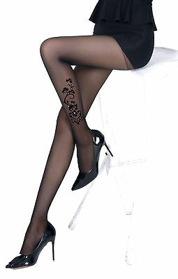 £5.38 • Buy Sheer Tights Black Effect Tattoo Flower Butterfly Rhinestone Sexy Stockings New