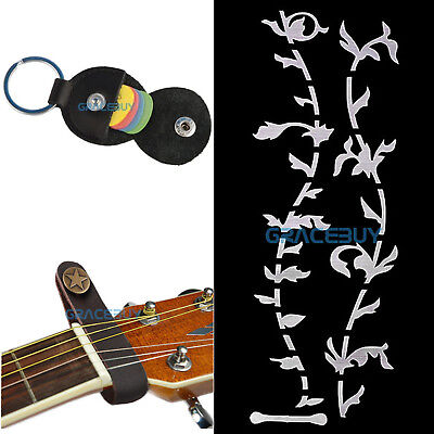 $ CDN10.09 • Buy Leather Strap Button Hook+Tree Of Life Guitar Inlay Sticker+Picks Holder+6 Picks