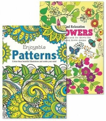 Pattern Flowers Adult Colouring Books Relaxation Anti Stress Pack Of 2 FREE PP • 4.19£