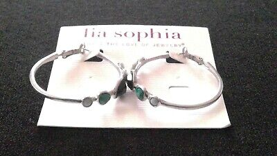 $ CDN17.75 • Buy NWT Lia Sophia  Riverwalk  Matte Silver-tone Hoop Blue & Green Earrings