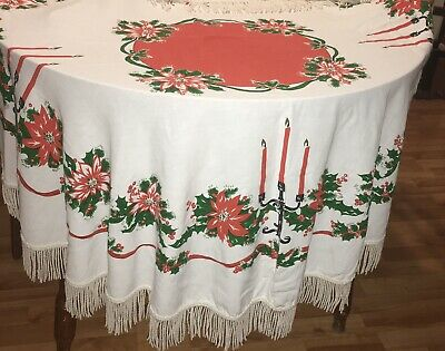 "$ CDN38 • Buy Vintage Christmas Tablecloth Cotton Fringed 55"" Round Poinsettias Candelabras"