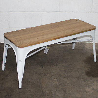 White Metal Industrial Bench Wooden Seat Dining Kitchen Living Coffee Table  • 69.99£