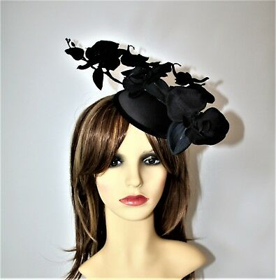 Black Orchid Flower Pillbox Hat Clip- Fascinator - Wedding, Races, Party. • 17.99£
