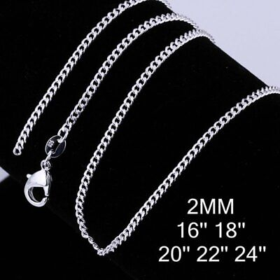 Women Sterling Silver Fine Curb Chain Necklace Ladies Neck16/18/20/22/24 USA NEW • 4.99$