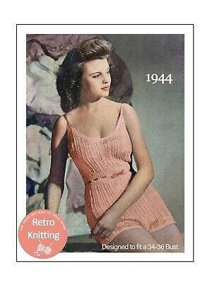 £3.99 • Buy 1940s Pretty Lace Cami-knickers Vintage Knitting Pattern  Bust 34-36