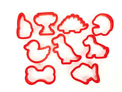 Cookie Cutters Lot Of 9 Plastic Shapes Animals Football Dinosaurs Dog Bone Fish • 7.82£