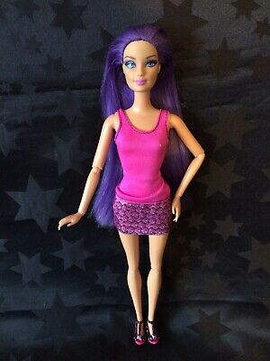 Barbie Hybrid OOAK - Purple Hairtastic Head On Articulated Swappin' Styles Body • 21.99£