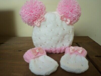 Hand Knitted Baby Hat And Mitts Set -size New Born • 9.50£
