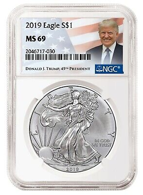 $36.99 • Buy 2019 1oz Silver Eagle NGC MS69 - Donald Trump Label