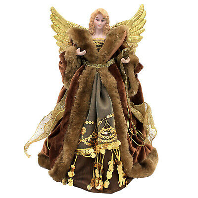 The Christmas Workshop 30cm Traditional Angel With Copper Dress Xmas Tree Topper • 11.50£