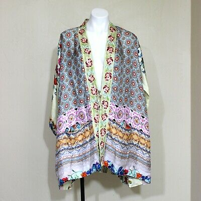 Johnny Was Open Front Silk Kimono Cardigan Top Embroidered Floral C43318-1S  / 8 • 125$