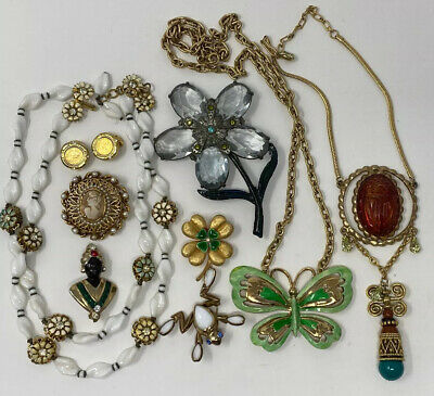 $ CDN277.71 • Buy Fabulous Lot Of Vintage Jewelry Rhinestone Enamel Signed Necklaces Brooches