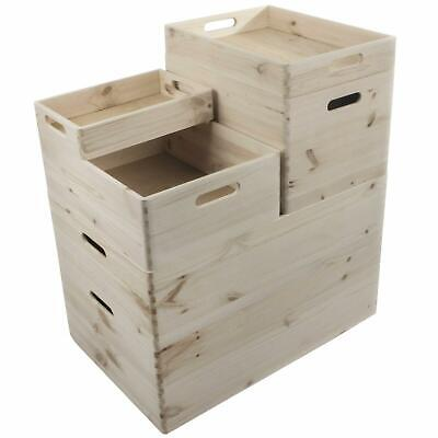 Choice Of Stackable Plain Pine Wood Open Boxes Crates Handles / Small To X-Large • 12.95£